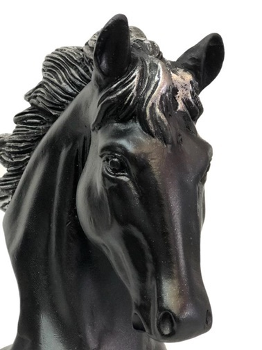 Kokosh Dekoratif At Figürü Siyah Gümüş Siyah